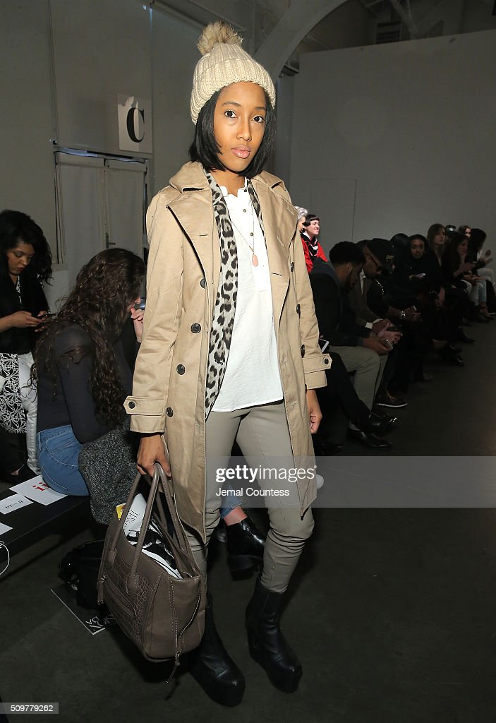 Samantha Powlett attends the iiJin Fall 2016 fashion show during New York Fashion Week at Pier 59 on February 12, 2016 in New York City.
