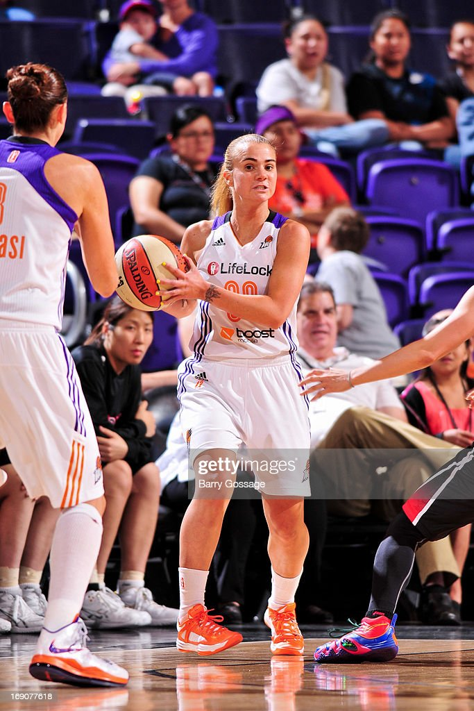Samantha Prahalis #99 of the Phoenix Mercury looks to pass the ball against the Japanese National Team during a WNBA preseason game on May 19, 2013 at U.S. Airways Center in Phoenix, Arizona.