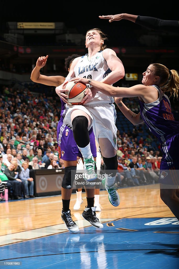 Samantha Prahalis #99 of the the Phoenix Mercury blocks <a gi-track='captionPersonalityLinkClicked' href=/galleries/search?phrase=Lindsay+Whalen&family=editorial&specificpeople=208984 ng-click='$event.stopPropagation()'>Lindsay Whalen</a> #13 of the Minnesota Lynx during the WNBA game on June 6, 2013 at Target Center in Minneapolis, Minnesota.