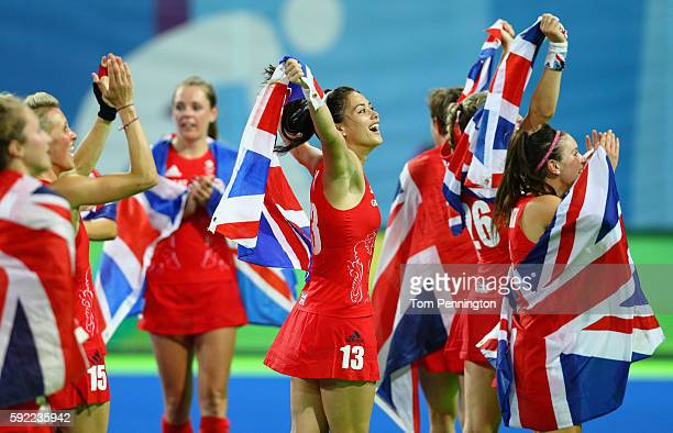 Samantha Quek of Great Britain reacts after defeating Netherlands in the Women's Gold Medal Match on Day 14 of the Rio 2016 Olympic Games at the...