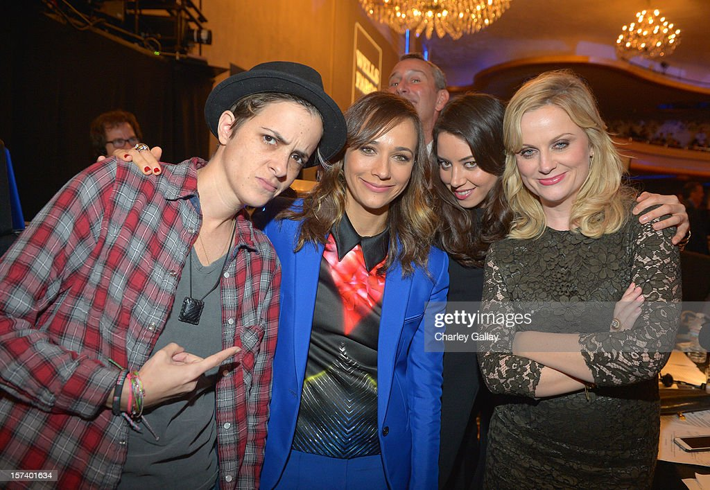 DJ <a gi-track='captionPersonalityLinkClicked' href=/galleries/search?phrase=Samantha+Ronson&family=editorial&specificpeople=214678 ng-click='$event.stopPropagation()'>Samantha Ronson</a> and actors <a gi-track='captionPersonalityLinkClicked' href=/galleries/search?phrase=Rashida+Jones&family=editorial&specificpeople=2133481 ng-click='$event.stopPropagation()'>Rashida Jones</a>, <a gi-track='captionPersonalityLinkClicked' href=/galleries/search?phrase=Aubrey+Plaza&family=editorial&specificpeople=5299268 ng-click='$event.stopPropagation()'>Aubrey Plaza</a>, and <a gi-track='captionPersonalityLinkClicked' href=/galleries/search?phrase=Amy+Poehler&family=editorial&specificpeople=228430 ng-click='$event.stopPropagation()'>Amy Poehler</a> attend 'Trevor Live' honoring Katy Perry and Audi of America for The Trevor Project held at The Hollywood Palladium on December 2, 2012 in Los Angeles, California.