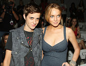 Samantha Ronson and actress Lindsay Lohan attend the Charlotte Ronson Spring 2009 fashion show during MercedesBenz Fashion Week at The Promenade in...
