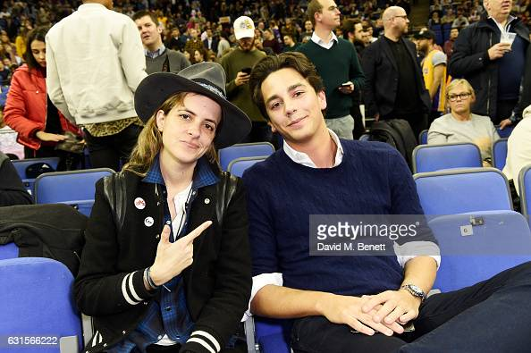 Samantha Ronson and guest sit courtside at the NBA Global Game London 2017 basketball game between the Indiana Pacers and Denver Nuggets at The O2...