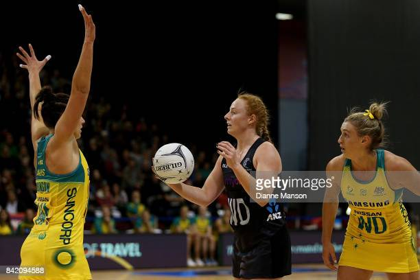 Samantha Sinclair of New Zealand looks to pass the ball while defended by Madi Robinson during the 2017 Quad Series match between the New Zealand...
