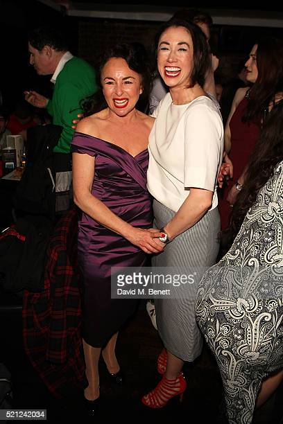 Samantha Spiro and Siubhan Harrison attend the press night after party for 'Guys And Dolls' at Zebrano Soho on April 14 2016 in London England