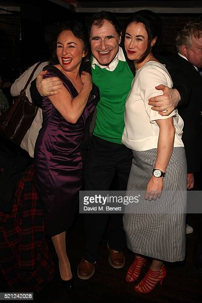 Samantha Spiro Richard Kind and Siubhan Harrison attend the press night after party for 'Guys And Dolls' at Zebrano Soho on April 14 2016 in London...