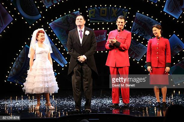 Samantha Spiro Richard Kind Oliver Tompsett and Siubhan Harrison bow at the curtain call during the press night performance of 'Guys And Dolls' at...
