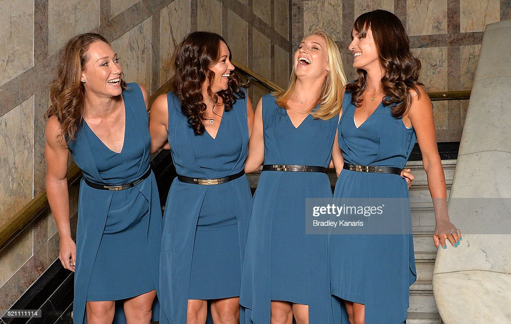 Samantha Stosur, Casey Dellacqua, Daria Gavlirova and Arina Rodionova share a laugh at a photo shoot before the Fed Cup Official Dinner on April 14, 2016 in Brisbane, Australia.