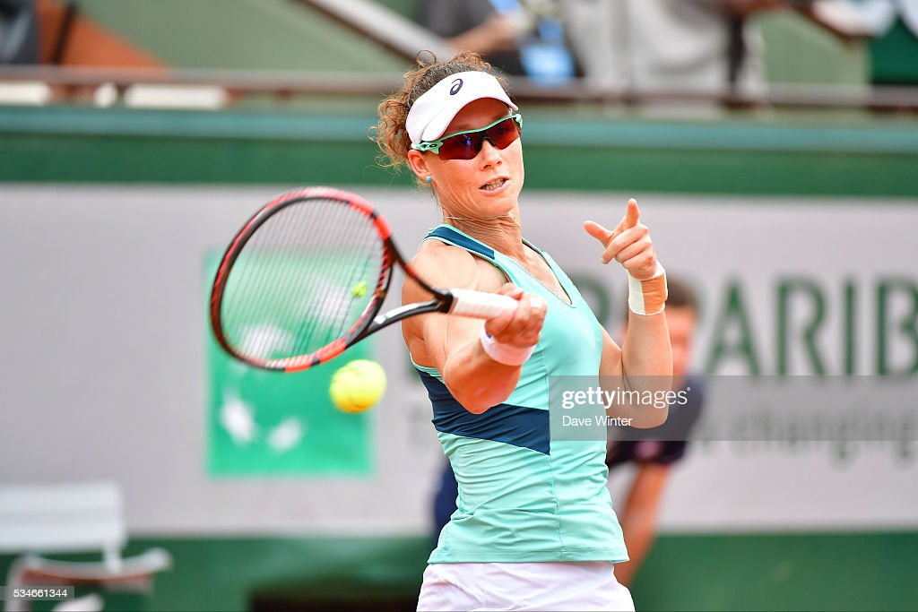 Samantha Stosur during the Women's Singles third round on day six of the French Open 2016 at Roland Garros on May 27, 2016 in Paris, France.