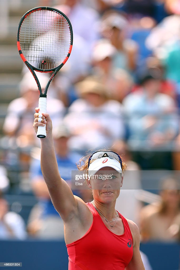 Samantha Stosur of Australia celebrates after defeating Evgeniya Rodina of Russian in their Women's Singles Second Round match on Day Four of the 2015 US Open at the USTA Billie Jean King National Tennis Center on September 3, 2015 in the Flushing neighborhood of the Queens borough of New York City.