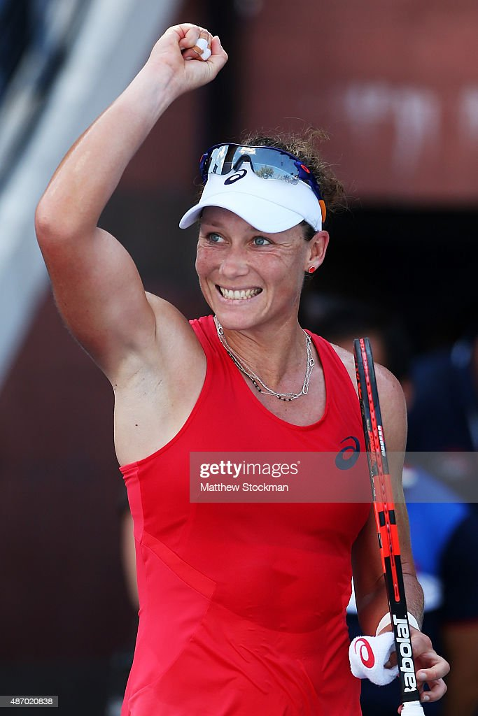 <a gi-track='captionPersonalityLinkClicked' href=/galleries/search?phrase=Samantha+Stosur&family=editorial&specificpeople=194778 ng-click='$event.stopPropagation()'>Samantha Stosur</a> of Australia celebrates after defeating Sara Errani of Italy during their Women's Singles Third Round match on Day Six of the 2015 US Open at the USTA Billie Jean King National Tennis Center on September 5, 2015 in the Flushing neighborhood of the Queens borough of New York City.