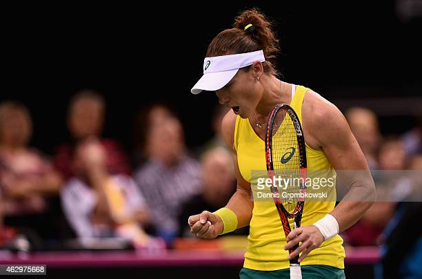 Samantha Stosur of Australia celebrates during her single match against Angelique Kerber of Germany during the Fed Cup 2015 World Group First Round...
