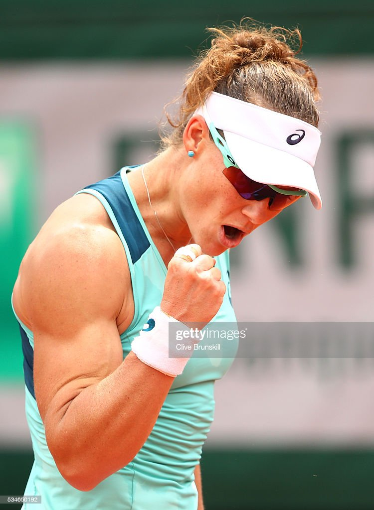 <a gi-track='captionPersonalityLinkClicked' href=/galleries/search?phrase=Samantha+Stosur&family=editorial&specificpeople=194778 ng-click='$event.stopPropagation()'>Samantha Stosur</a> of Australia celebrates during the Ladies Singles third round match against Lucie Safarova of Czech Republic on day six of the 2016 French Open at Roland Garros on May 27, 2016 in Paris, France.