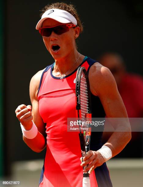 Samantha Stosur of Australia celebrates winning a point during the second round match against Kirsten Flipkens of Belgium on day four of the 2017...
