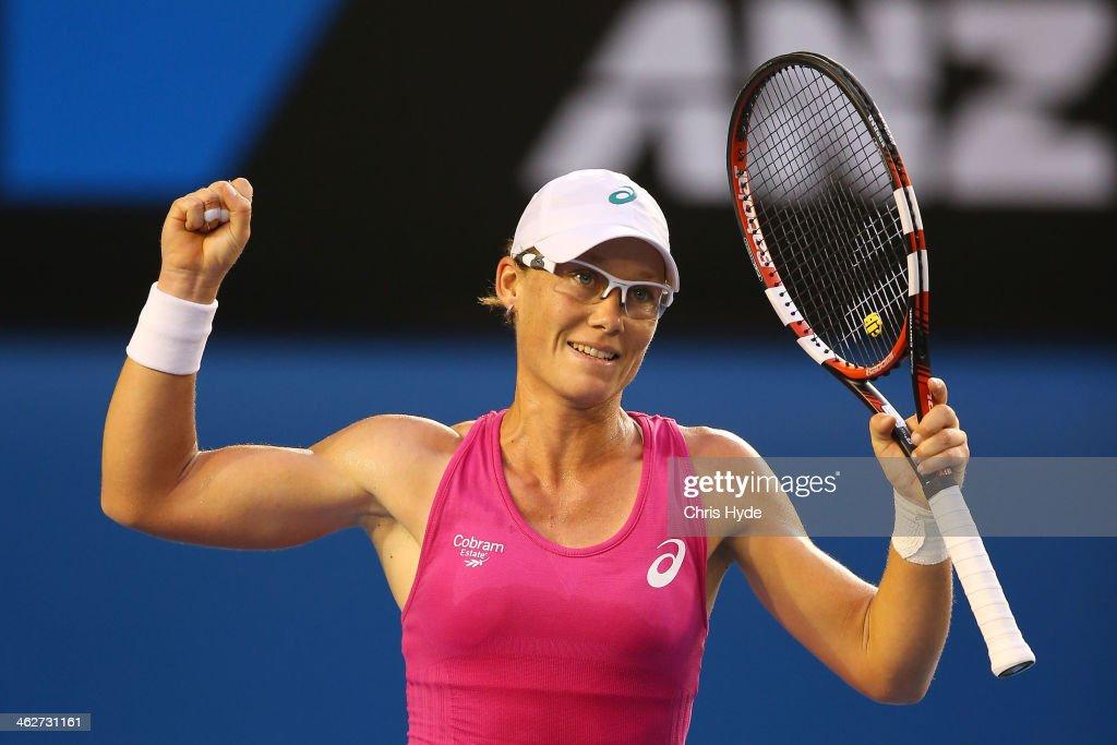 Samantha Stosur of Australia celebrates winning her second round match against Tsvetana Pironkova of Bulgaria during day three of the 2014 Australian Open at Melbourne Park on January 15, 2014 in Melbourne, Australia.