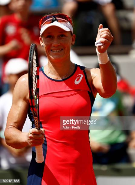 Samantha Stosur of Australia celebrates winning the second round match against Kirsten Flipkens of Belgium on day four of the 2017 French Open at...