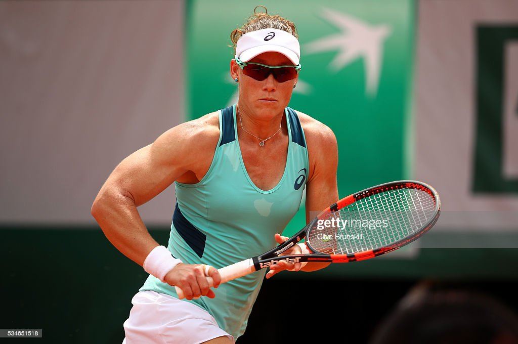 <a gi-track='captionPersonalityLinkClicked' href=/galleries/search?phrase=Samantha+Stosur&family=editorial&specificpeople=194778 ng-click='$event.stopPropagation()'>Samantha Stosur</a> of Australia chases down the ball during the Ladies Singles third round match against Lucie Safarova of Czech Republic on day six of the 2016 French Open at Roland Garros on May 27, 2016 in Paris, France.