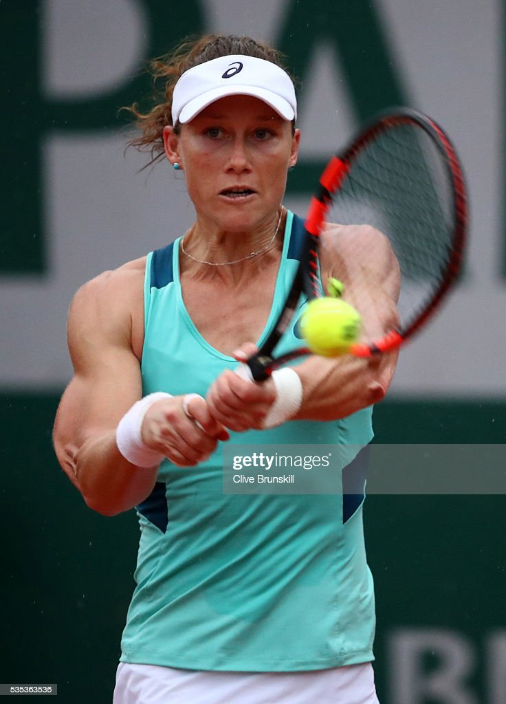<a gi-track='captionPersonalityLinkClicked' href=/galleries/search?phrase=Samantha+Stosur&family=editorial&specificpeople=194778 ng-click='$event.stopPropagation()'>Samantha Stosur</a> of Australia hits a backhand during the Ladies Singles fourth round match against Simona Halep of Romania on day eight of the 2016 French Open at Roland Garros on May 29, 2016 in Paris, France.