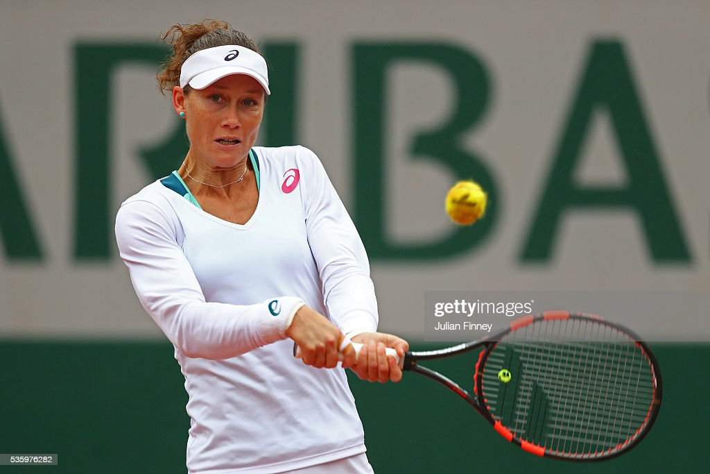 <a gi-track='captionPersonalityLinkClicked' href=/galleries/search?phrase=Samantha+Stosur&family=editorial&specificpeople=194778 ng-click='$event.stopPropagation()'>Samantha Stosur</a> of Australia hits a backhand during the Ladies Singles fourth round match against Simona Halep of Romania on day ten of the 2016 French Open at Roland Garros on May 31, 2016 in Paris, France.