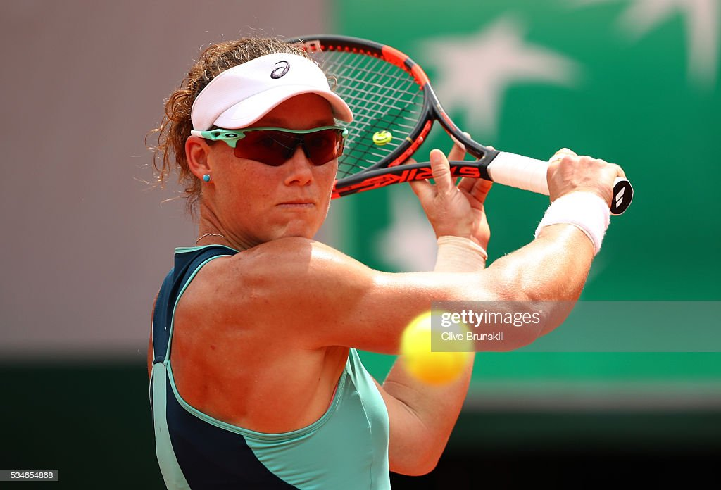<a gi-track='captionPersonalityLinkClicked' href=/galleries/search?phrase=Samantha+Stosur&family=editorial&specificpeople=194778 ng-click='$event.stopPropagation()'>Samantha Stosur</a> of Australia hits a backhand during the Ladies Singles third round match against Lucie Safarova of Czech Republic on day six of the 2016 French Open at Roland Garros on May 27, 2016 in Paris, France.