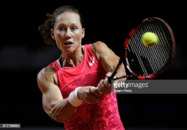 Samantha Stosur of Australia hits a backhand in her match against Anastasija Sevastova of the Latvia during the Porsche Tennis Grand Prix at Porsche...