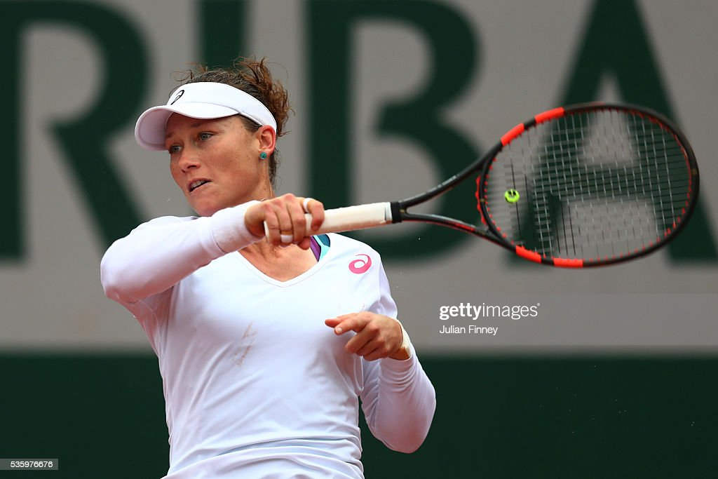<a gi-track='captionPersonalityLinkClicked' href=/galleries/search?phrase=Samantha+Stosur&family=editorial&specificpeople=194778 ng-click='$event.stopPropagation()'>Samantha Stosur</a> of Australia hits a forehand during the Ladies Singles fourth round match against Simona Halep of Romania on day ten of the 2016 French Open at Roland Garros on May 31, 2016 in Paris, France.