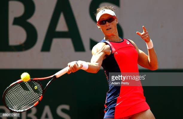 Samantha Stosur of Australia hits a forehand during the second round match against Kristen Flipkens of Belgiumon day four of the 2017 French Open at...