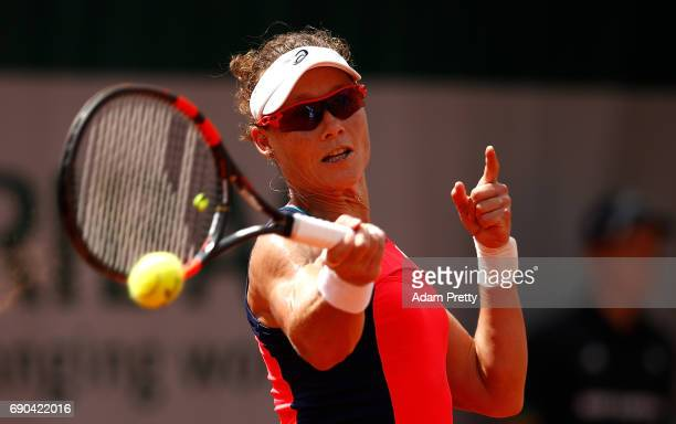 Samantha Stosur of Australia hits a forehand during the second round match against Kirsten Flipkens of Belgium on day four of the 2017 French Open at...