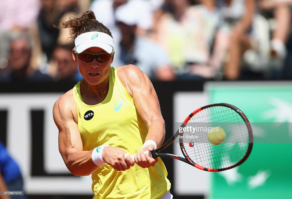 <a gi-track='captionPersonalityLinkClicked' href=/galleries/search?phrase=Samantha+Stosur&family=editorial&specificpeople=194778 ng-click='$event.stopPropagation()'>Samantha Stosur</a> of Australia in action against Anastasia Pavlyuchenkova of Russia during the The Internazionali BNL d'Italia 2015 on May 11, 2015 in Rome, Italy.