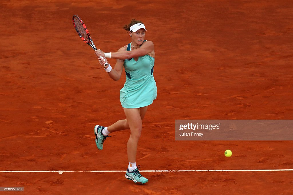 <a gi-track='captionPersonalityLinkClicked' href=/galleries/search?phrase=Samantha+Stosur&family=editorial&specificpeople=194778 ng-click='$event.stopPropagation()'>Samantha Stosur</a> of Australia in action against Carla Suarez Navarro of Spain during day five of the Mutua Madrid Open tennis tournament at the Caja Magica on May 04, 2016 in Madrid, Spain.