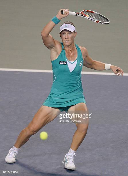 Samantha Stosur of Australia in action during her women's singles first round match against Alize Cornet of France during day one of the Toray Pan...