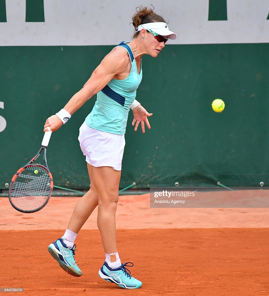 Samantha Stosur (C) of Australia in an action during women's single second round match against Shuai Zhang of China at the French Open tennis tournament at Roland Garros in Paris, France on May 25, 2016.