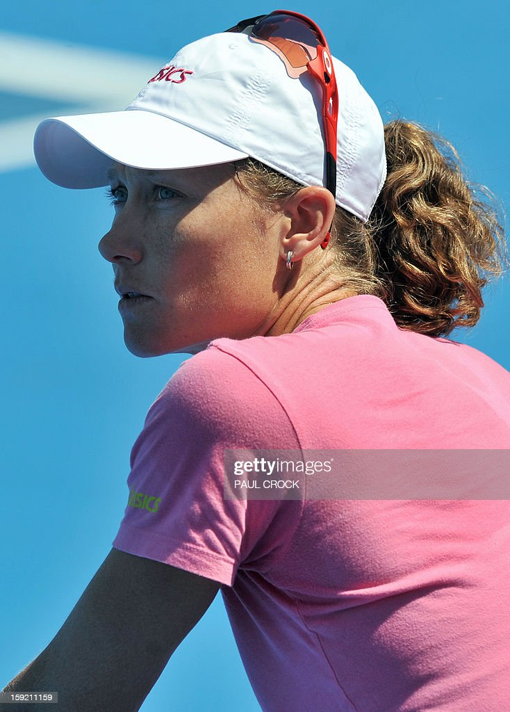 Samantha Stosur of Australia is pictured during a practice session for the upcoming Australian Open tennis tournament in Melbourne on January 10, 2013. The first Grand Slam tennis tournament of the year is set to run from January 14 to 27. AFP PHOTO / Paul CROCK IMAGE