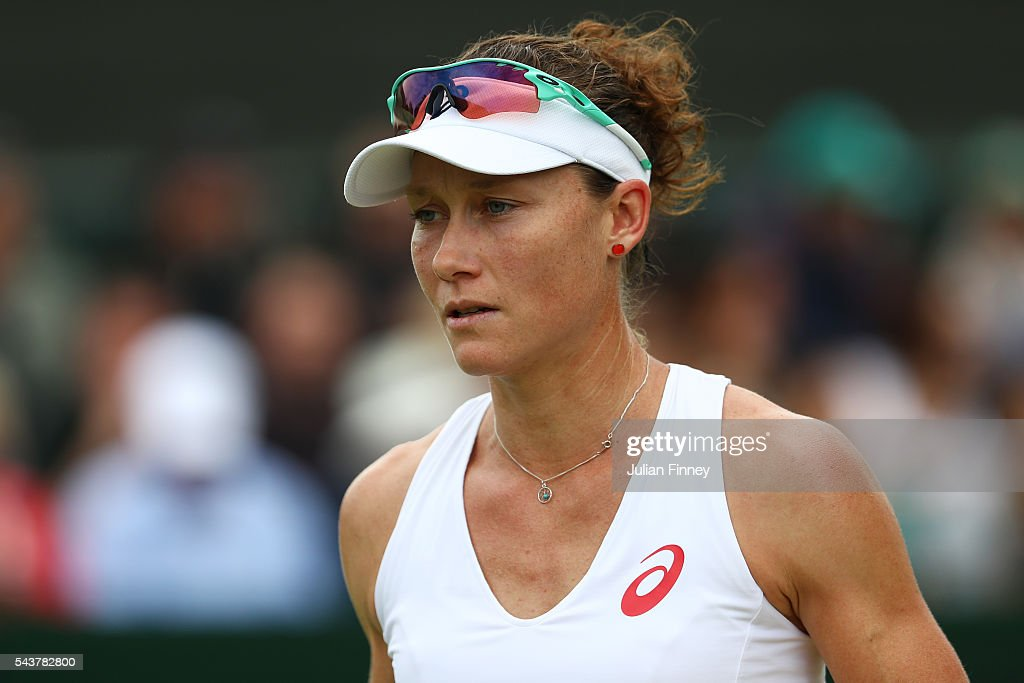 <a gi-track='captionPersonalityLinkClicked' href=/galleries/search?phrase=Samantha+Stosur&family=editorial&specificpeople=194778 ng-click='$event.stopPropagation()'>Samantha Stosur</a> of Australia looks on during the Ladies Singles second round match against Sabine Lisicki of Germany on day four of the Wimbledon Lawn Tennis Championships at the All England Lawn Tennis and Croquet Club on June 30, 2016 in London, England.