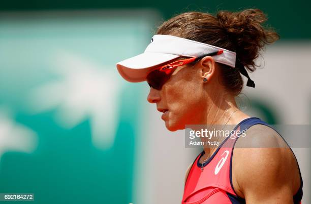 Samantha Stosur of Australia looks on during the ladies singles fourth round match against Jelena Ostapenko of Latvia on day eight of the 2017 French...