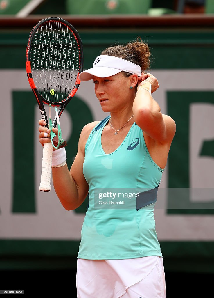 <a gi-track='captionPersonalityLinkClicked' href=/galleries/search?phrase=Samantha+Stosur&family=editorial&specificpeople=194778 ng-click='$event.stopPropagation()'>Samantha Stosur</a> of Australia looks on during the Ladies Singles third round match against Lucie Safarova of Czech Republic on day six of the 2016 French Open at Roland Garros on May 27, 2016 in Paris, France.
