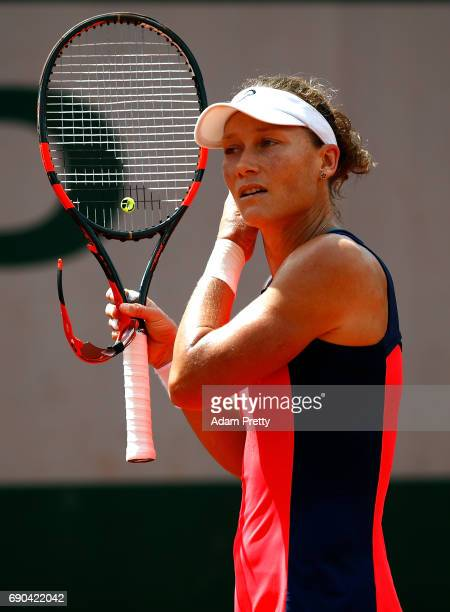 Samantha Stosur of Australia looks on during the second round match against Kirsten Flipkens of Belgium on day four of the 2017 French Open at Roland...