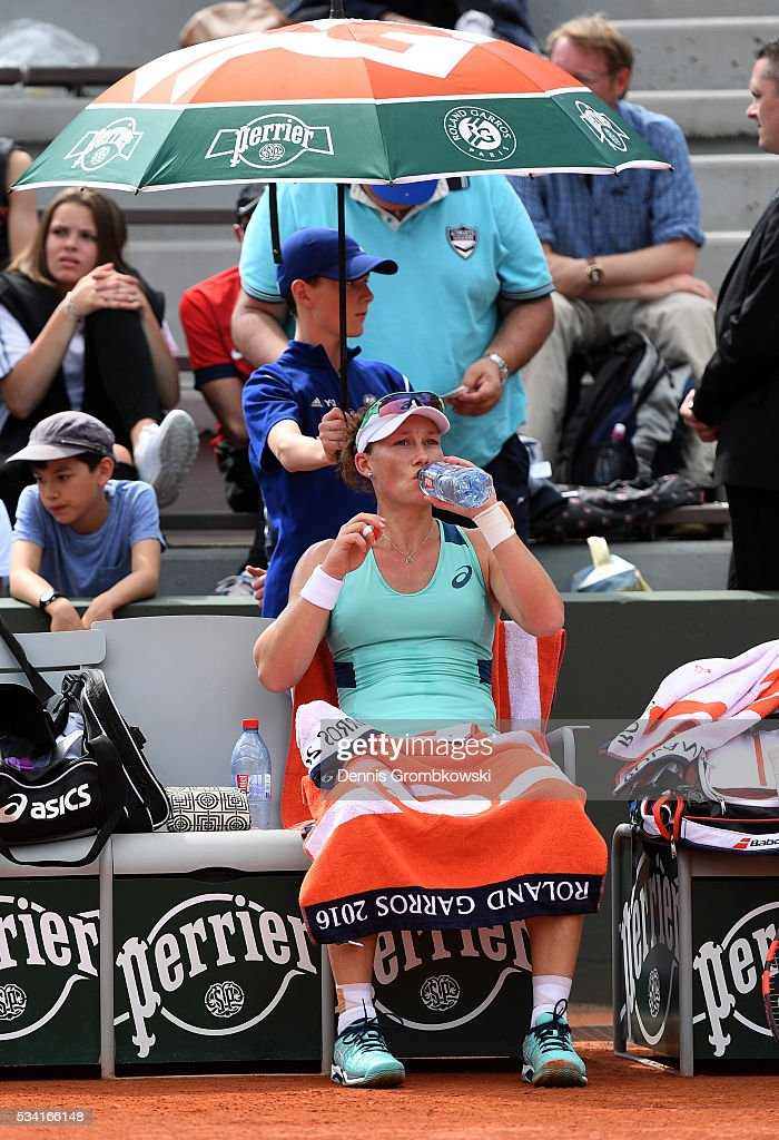 <a gi-track='captionPersonalityLinkClicked' href=/galleries/search?phrase=Samantha+Stosur&family=editorial&specificpeople=194778 ng-click='$event.stopPropagation()'>Samantha Stosur</a> of Australia looks on during the Women's Singles second round match against Shuai Zhang of China on day four of the 2016 French Open at Roland Garros on May 25, 2016 in Paris, France.