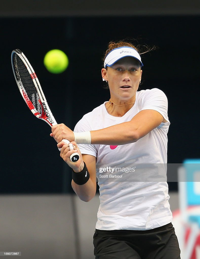 Samantha Stosur of Australia plays a backhand during a practice session ahead of the 2013 Australian Open at Melbourne Park on January 13, 2013 in Melbourne, Australia.