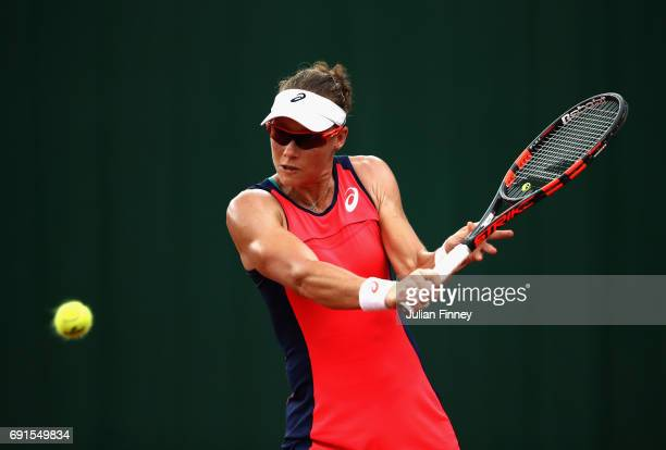 Samantha Stosur of Australia plays a backhand during ladies singles third round match against Bethanie MattekSands of The United States on day six of...