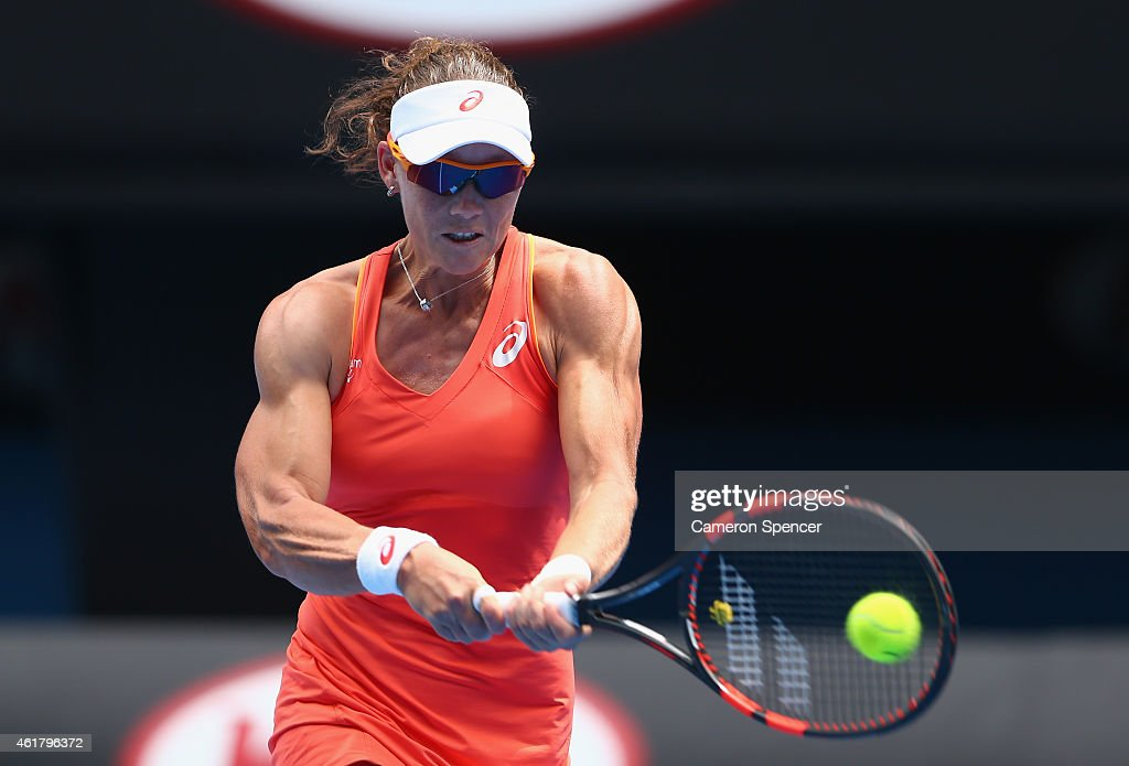<a gi-track='captionPersonalityLinkClicked' href=/galleries/search?phrase=Samantha+Stosur&family=editorial&specificpeople=194778 ng-click='$event.stopPropagation()'>Samantha Stosur</a> of Australia plays a backhand in her first round match against Monica Niculescu of Romania during day two of the 2015 Australian Open at Melbourne Park on January 20, 2015 in Melbourne, Australia.