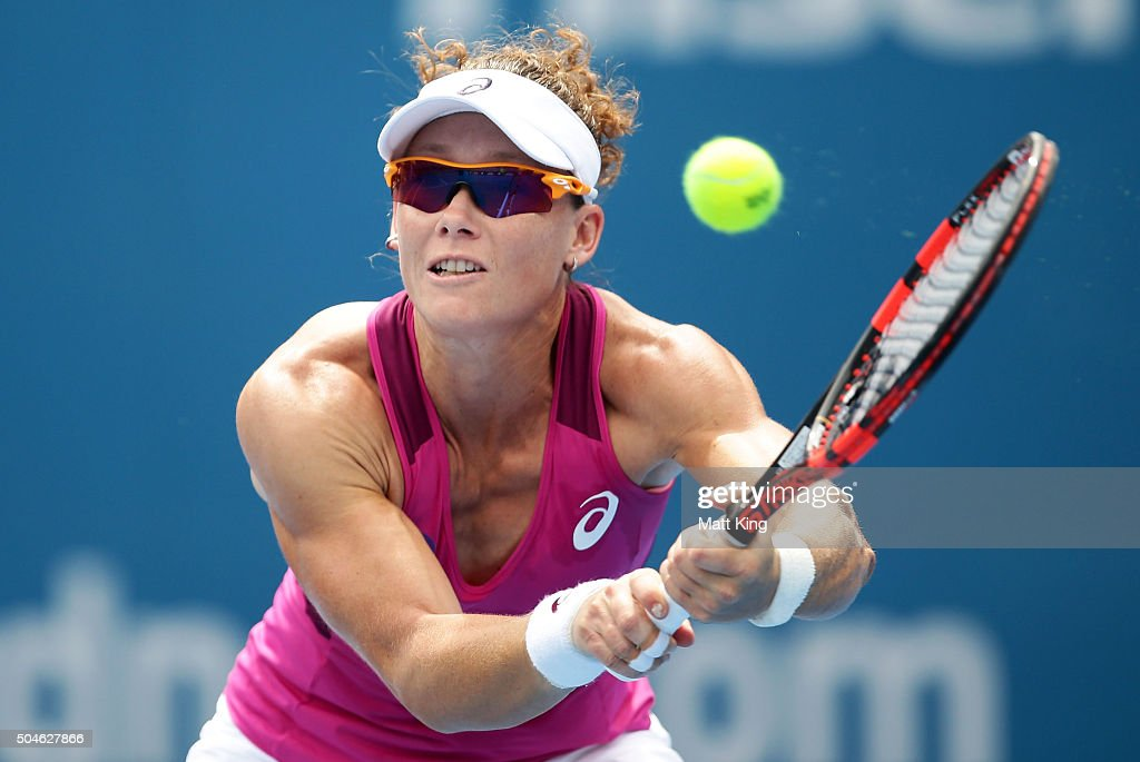 Samantha Stosur of Australia plays a backhand in her match against Daniela Hantuchova of Slovakia during day three of the 2016 Sydney International at Sydney Olympic Park Tennis Centre on January 12, 2016 in Sydney, Australia.
