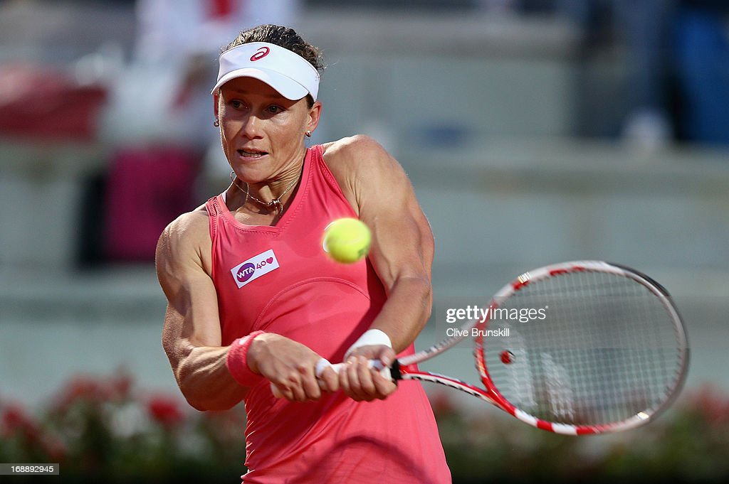 Samantha Stosur of Australia plays a backhand to Petra Kvitova of the Czech Republic in their third round match during day five of the Internazionali BNL d'Italia 2013 at the Foro Italico Tennis Centre on May 16, 2013 in Rome, Italy.