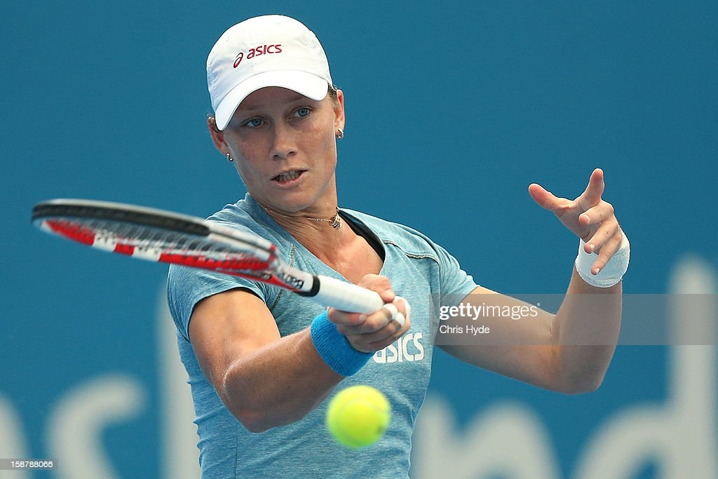 Samantha Stosur of Australia plays a forehand during a practice session at Pat Rafter Arena on December 29, 2012 in Brisbane, Australia.