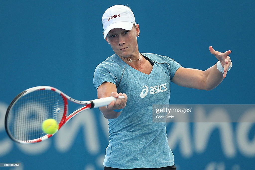 Samantha Stosur of Australia plays a forehand during a practise session at Pat Rafter Arena on December 29, 2012 in Brisbane, Australia.