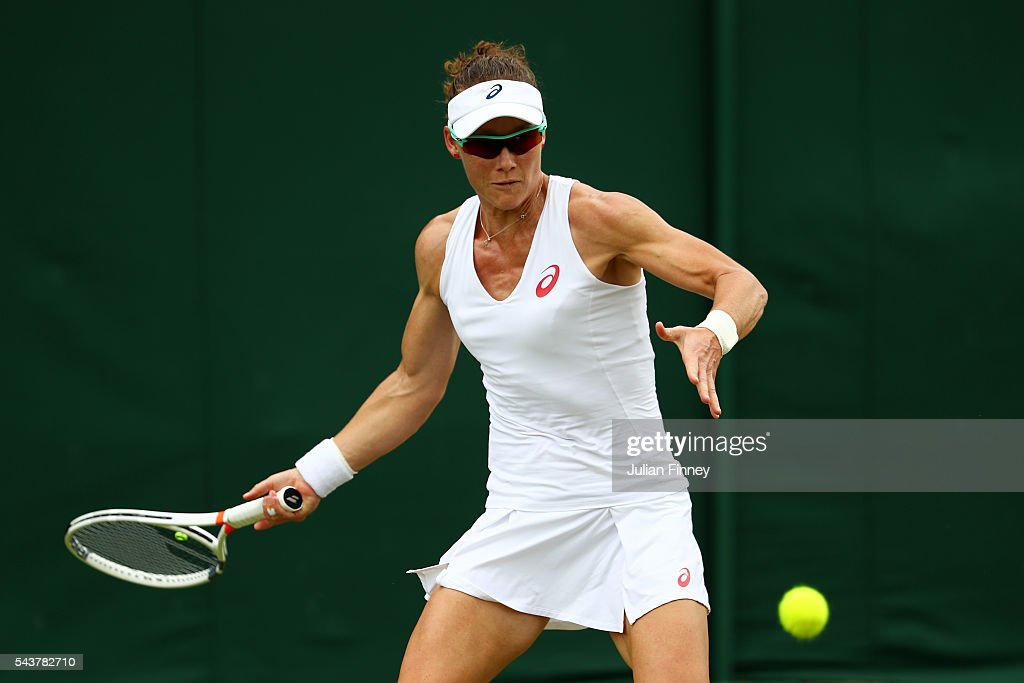 <a gi-track='captionPersonalityLinkClicked' href=/galleries/search?phrase=Samantha+Stosur&family=editorial&specificpeople=194778 ng-click='$event.stopPropagation()'>Samantha Stosur</a> of Australia plays a forehand during the Ladies Singles second round match against Sabine Lisicki of Germany on day four of the Wimbledon Lawn Tennis Championships at the All England Lawn Tennis and Croquet Club on June 30, 2016 in London, England.