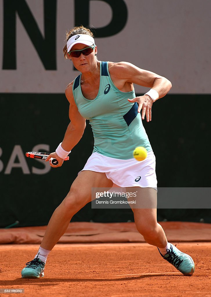 Samantha Stosur of Australia plays a forehand during the Women's Singles second round match against Shuai Zhang of China on day four of the 2016 French Open at Roland Garros on May 25, 2016 in Paris, France.