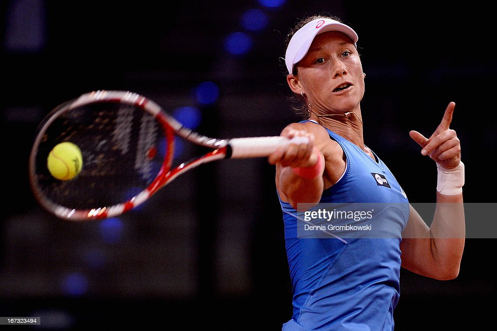 <a gi-track='captionPersonalityLinkClicked' href=/galleries/search?phrase=Samantha+Stosur&family=editorial&specificpeople=194778 ng-click='$event.stopPropagation()'>Samantha Stosur</a> of Australia plays a forehand in her match against Jelena Jankovic of Serbia during Day 3 of the Porsche Tennis Grand Prix at Porsche-Arena on April 24, 2013 in Stuttgart, Germany.