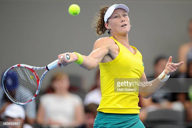 Samantha Stosur of Australia plays a forehand shot against Angelique Kerber of Germany during the Fed Cup Semi Final tie between Australia and...