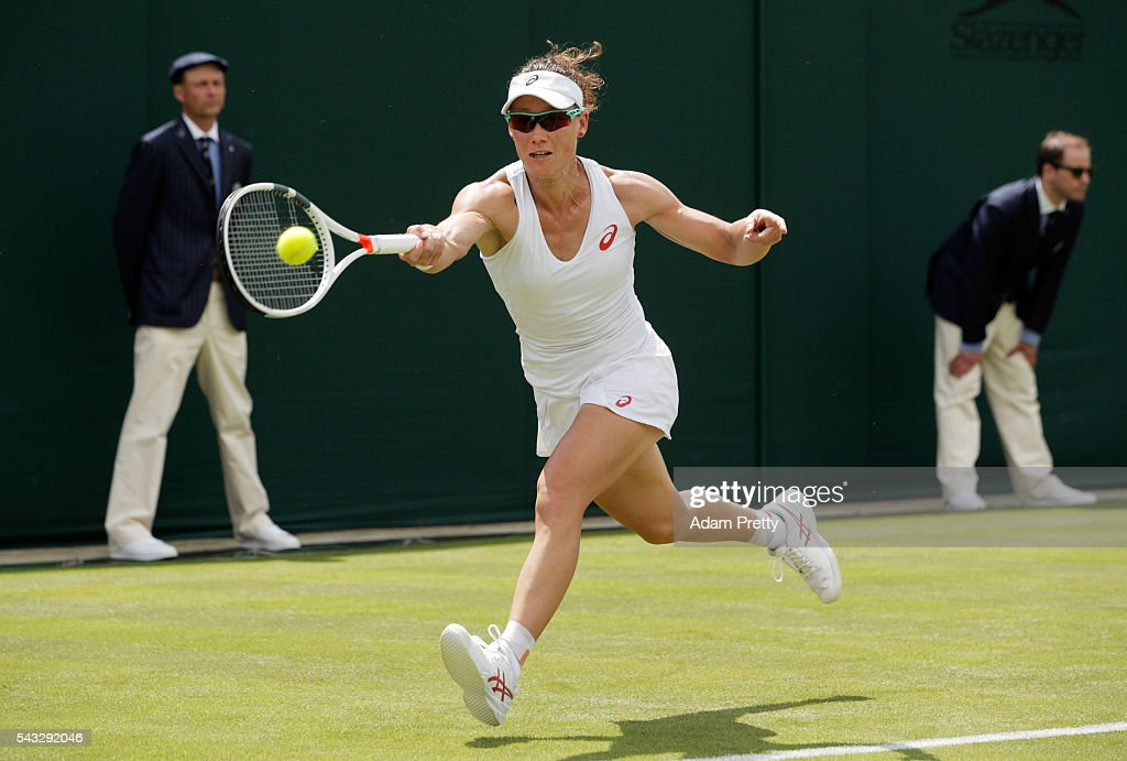 <a gi-track='captionPersonalityLinkClicked' href=/galleries/search?phrase=Samantha+Stosur&family=editorial&specificpeople=194778 ng-click='$event.stopPropagation()'>Samantha Stosur</a> of Australia plays a forehand shot during the Ladies Singles first round match against Magda Linette of Poland on day one of the Wimbledon Lawn Tennis Championships at the All England Lawn Tennis and Croquet Club on June 27th, 2016 in London, England.